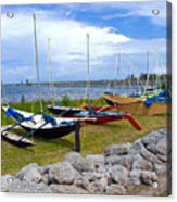 Homemade Outriggers Canoes On The Indian River Lagoon In Florida Acrylic Print