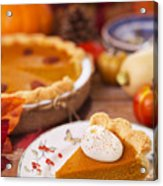Homemade Pumpkin Pie On A Rustic Table With Autumn Decorations Acrylic Print