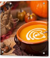 Homemade Pumpkin Soup On A Rustic Table With Autumn Decorations Acrylic Print