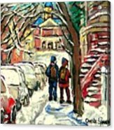 Original Art For Sale Montreal Petits Formats A Vendre Walking To School On Snowy Streets Paintings Acrylic Print