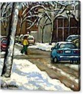 Original Canadian Art For Sale Scenes D'hiver Ville De Montreal Apres La Tempete Montreal Scenes Acrylic Print