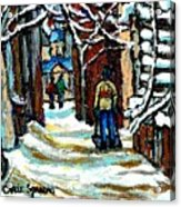 Buy Original Paintings Montreal Petits Formats A Vendre Scenes Man Shovelling Snow Winter Stairs Acrylic Print