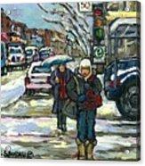 Rue Cote St Catherine Peintures Petit Format A Vendre Scenes De Ville Montreal Street Scenes  Acrylic Print
