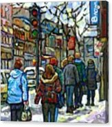 Promenade Au Centre Ville Rue Ste Catherine Montreal Winter Street Scene Small Paintings  For Sale Acrylic Print