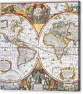 Hondius World Map, 1630 Acrylic Print by Photo Researchers
