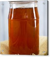 Honey In Clear Glass Jar Acrylic Print