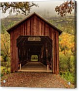 Honey Run Covered Bridge In Autumn Acrylic Print