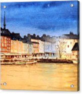 Honfleur  Evening Lights Acrylic Print by Bill Holkham