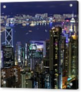 Hong Kong At Night Acrylic Print by Leung Cho Pan
