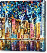 Hong Kong - Palette Knife Oil Painting On Canvas By Leonid Afremov Acrylic Print