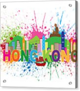Hong Kong Skyline Paint Splatter Text Illustration Acrylic Print