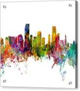 Honolulu, Miami And Nashville Skylines Mashup Acrylic Print