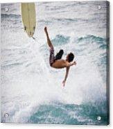 Hookipa Maui Flying Surfer Acrylic Print by Denis Dore