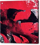 Hope - Red Black And White Abstract Art Painting Acrylic Print
