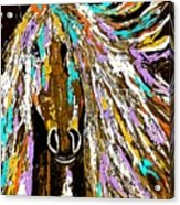 Horse Abstract Brown And Blue Acrylic Print