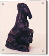 Horse And Man Sculpture 1991 Acrylic Print by Jamey Balester