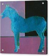 Horse, Blue On Lavender Acrylic Print