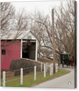 Horse Buggy And Covered Bridge Acrylic Print
