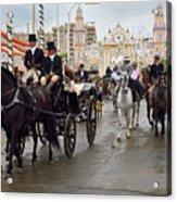 Horse Drawn Carriages And Women On Horseback Riding Sidesaddle O Acrylic Print