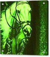 Horse Painting Jumper No Faults Deep Greens Acrylic Print