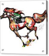 Horse Racing In Fast Colors Acrylic Print