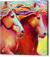 Horse Stampede Painting Acrylic Print