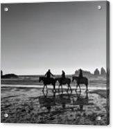 Horseback Storytelling Black And White Acrylic Print
