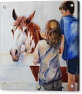 Horses And Children Painting Acrylic Print