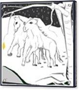 Horses On A Snowy Evening Acrylic Print