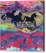 Horses Running Thru A Stream Acrylic Print by Carol  Law Conklin