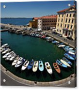 Horseshoe Pattern Of Moored Boats At The Inner Harbour Of Piran  Acrylic Print