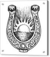 Horseshoe Sun And Sea Tattoo Acrylic Print