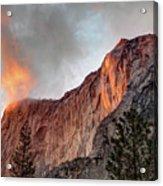 Horsetail Falls Cloudy Sunset Acrylic Print