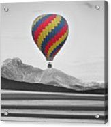 Hot Air Balloon And Longs Peak - Black White And Color Acrylic Print