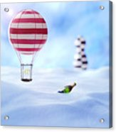Hot Air Balloon In The Snow Acrylic Print