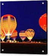 Hot Air Balloon Night Glow Acrylic Print