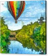 Hot Air Balloon Woodstock Vermont Pencil Acrylic Print