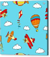 Hot Air Balloons And Airplanes Fly In The Sky Acrylic Print