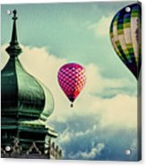 Hot Air Balloons Float Over Lewiston Maine Acrylic Print