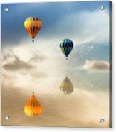 Hot Air Balloons Water Reflections Acrylic Print by Tracie Kaska