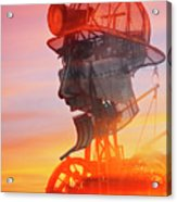 Hot And Steamy Man Engine Acrylic Print