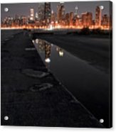 Chicago Hot City At Night Acrylic Print