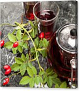 Hot Rosehip Tea In Glass Acrylic Print