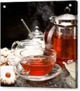 Hot Steaming Tea With Christmas Biscuits Acrylic Print
