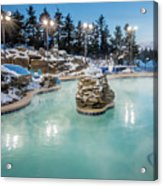 Hot Tubs And Ingound Heated Pool At A Mountain Village In Winter Acrylic Print