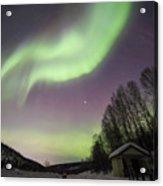 House, Aurora, Night Sky At Alaska, Fairbanks Acrylic Print