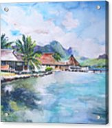 House By The Lagoon In French Polynesia Acrylic Print