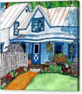 House Fence And Flowers Acrylic Print