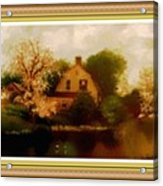 House Near The River. L B With Decorative Ornate Printed Frame. Acrylic Print