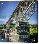 Houseboat And Aurora Bridge Seattle Acrylic Print